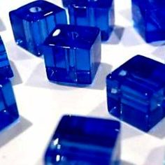 Clipped Cube Crystal Glass Beads - Cobalt Blue