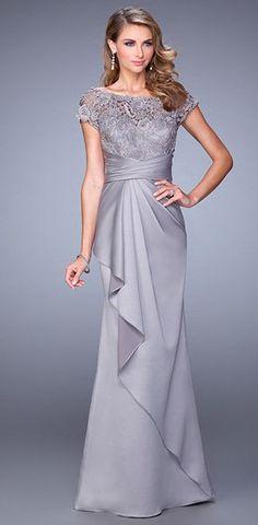 Vestido mamá del novio - La Femme Evening color plata