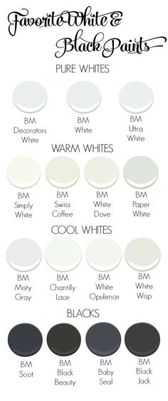My favorite go to white and black interior paints
