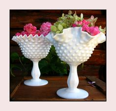Milk glass for centerpieces