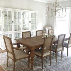 Dining Room, Restoration Hardware, White Cabinet, Neutral Dining Room,  Revere Pewter