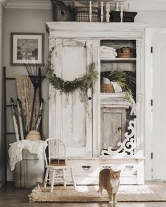 Perfect French Shabby Chic Interior Design – Shabby Chic Home Interiors Shabby Chic Kitchen, Shabby Chic Homes, Shabby Chic Decor, Rustic Decor, Kitchen Decor, Shabby Chic Furniture, Painted Furniture, White Armoire, Casas Shabby Chic