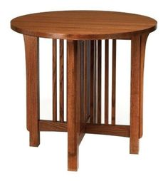 Mission-Arts-Crafts-Stickley-style-Round-Side-Accent-End-Lamp-Table