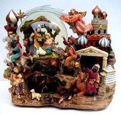 by QVintage Christmas Holidays, Christmas Decorations, Three Wise Men, Music Boxes, Silent Night, Vintage Music, More Fun, Plays, Snow Globes