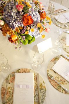 Wedding place setting idea, could use any pattern to match our colors