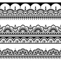 Indian seamless pattern, design elements - Mehndi tattoo style photo