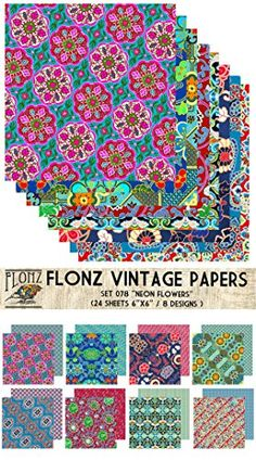 Neon Flowers Patterns FLONZ Vintage Styled Paper for Decoupage Craft and Scrapbooking Decoupage Paper Pack 24 Sheets 6x6