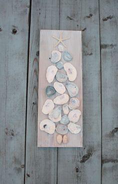 Oyster Shell Tree Art/Coastal Christmas ~by My Honeypickles on Etsy
