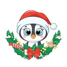 Lindo pingüino con corona de navidad. Ve...   Premium Vector #Freepik #vector #navidad #invierno #bebe #nieve Baby Raccoon, Cute Raccoon, Baby Animals, Cute Animals, Christmas Wreaths, Christmas Crafts, Scratchboard Art, Foto Baby, Christmas Drawing