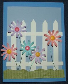 Free Easter and Spring Paper Piecing Patterns for Scrapbooking: Picket Fence Sample Greeting Card Heart Shapes Template, Free Paper Piecing Patterns, Easter Colors, Diy Crafts For Gifts, Scrapbook Cards, Scrapbooking Ideas, Scrapbook Layouts, Flower Cards, Easter Crafts