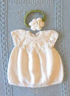 Baby Girl Dress White Hand Knit Heirloom Set with Flower Headband, Balloon Skirt, and Vintage Buttons