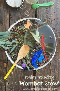 """Fun making Wombat Stew with your kids. #wombatstew """"#australiaday #activitiesforkids #funforkids #outdooractivities #twoyearolds #threeyearolds #funfunfun #lovetoplay #pretendplay #bookactivities"""