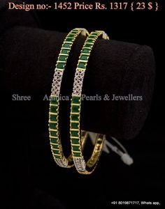 Cz and emerald guarantee bangles Indian Jewelry Earrings, India Jewelry, Wedding Jewelry, Jewelery, Jewelry Necklaces, Gold Bangles Design, Gold Jewellery Design, Imitation Jewelry, Diamond Bangle