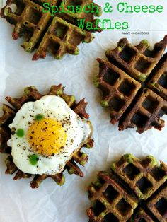 Savory cheesy waffles that are not just delicious but good for you too? Try these Multi grain spinach & cheese waffles!NaiveCookCooks.com#waffles #savory #brunch #healthy