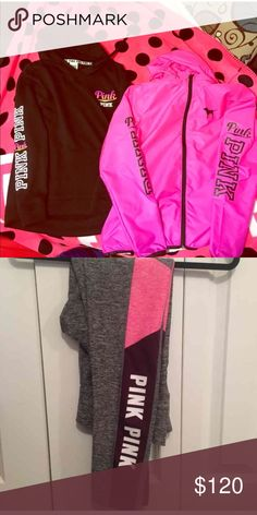 ONE DAY SPECIAL 3 items 🎀 !!! 3 ITEMS: HOT pink anorak jacket. Perfect for the spring. Size XS/S. oversized like most VS PINK clothes. In EUC. No flaws. Retail was $69.99 Second item: VS PINK RAINBOW HOODIE. Cute and goes perfect with the anorak. I bought them together. Warm &a comfy. Size S and I say true to size. Retail:49.99 THIRD ITEM: VS PINK ULTIMATE LEGGINGS. Super cute leggings were my ISO for the longest time. Very flattering. I always get compliments wearing these. NO FLAWS! Size…