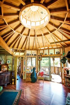 open plan yurt interior.
