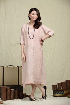 Oversize Loose Casual Dress, Pleated Linen Dress in pink / Shift Dress / maxi shirt dress - custom