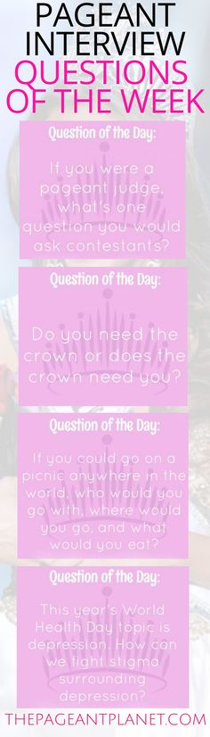 We've rounded up the top questions of the week for you to practice for your upcoming pageant. Click to read why these questions are important and some of our favorite ways to answer! You will find these and hundreds of other practice interview questions at ThePageantPlanet.com!