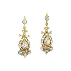 Early Victorian natural pearl and rose-cut diamond drop earrings, circa 1840