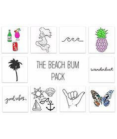Inked by Dani Beach Bum Pack Temporary Tattoos
