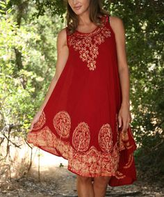 This Burgundy & Gold Circle Embroidered Sleeveless Dress by Ananda's Collection is perfect! #zulilyfinds