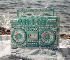 """We could do with a nice beach view right now, sun blazing and THIS """"Floral BMBOX"""" by Elena KaziElena Kazi, Greece based artist/ DJ /toy designer, creator of the hip BMBOX III has created Floral BMBOX which is Designer Toys, Boombox, Beach Fun, Photo And Video, Floral, Bags, Highlights, Instagram, Handbags"""