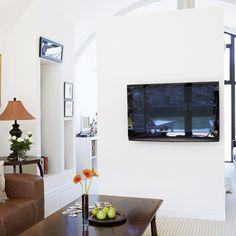 White mounted TV
