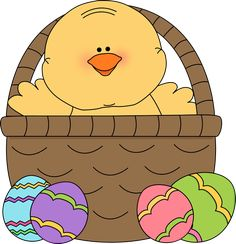 Easter chick in an Easter basket.