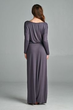 Charcoal Long Sleeve Boyfriend Maxi Dress