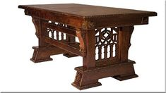 Custom Made & Hand Carved New Wave Gothic Desk (Library Table) by Artisans of the Valley in Solid Quarter Sawn Oak Wood Furniture Store, Unfinished Wood Furniture, Dining Room Furniture, Wooden Furniture, Dining Rooms, Medieval Furniture, Gothic Furniture, Antique Furniture, Into The Woods