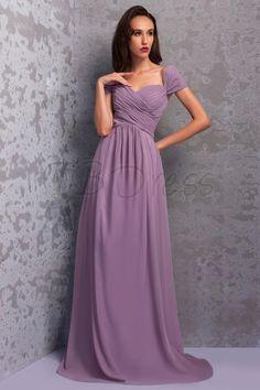 Graceful Pleats A-Line Off-the-Shoulder Floor-Length Renata's Bridesmaid Dress