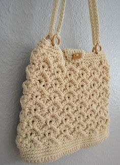 vintage MACRAME hand bag / 1970s hippie CROCHET hand bag