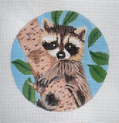 HP Baby Racoon Needlepoint Canvas by colors1 on Etsy, $18.00