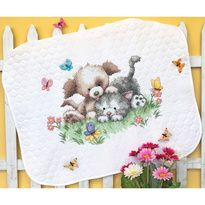 "Accessory Workshop - Pet Friends Baby Quilt Stamped Cross Stitch Kit - 43""X34"""