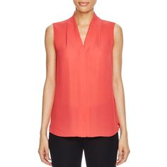 Elie Tahari Ginny Sleeveless Silk Blouse (14.185 RUB) ❤ liked on Polyvore featuring tops, blouses, sunset heat, sleeveless blouse, red silk blouse, elie tahari blouse, silk sleeveless top and red sleeveless blouse