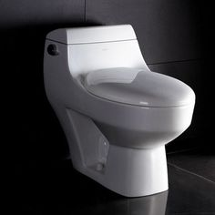 Athena Contemporary Elongated One Piece Toilet in White - modern - toilets - Wayfair
