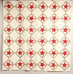 "PIECEWORK QUILT from fourth quarter 19th-early 20th Century. Handsewn and handquilted. (79"" x 81"")."