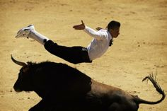 A ''recortador'' jumps over a bull during a bullfight in Madrid, Spain, Friday, May 2, 2014. 'Recortadores' is a bloodless type of bullfighting where performance consist on dribbling or acrobatically