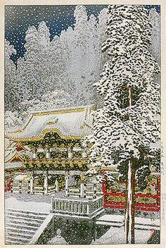 hanga gallery . . . torii gallery: Yomei Gate, Nikko by Takahashi Shotei
