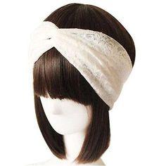 Las Mujeres De Encaje Blanco Retro Turbante Twist Cabeza Wrap Diadema Pañuelo retorcidos anudados de