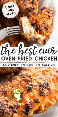The best recipe for Crispy Oven Fried Chicken! Strips of boneless and skinless chicken breasts are breaded with breadcrumbs and baked to crunchy perfection on a tray with butter. Simple to make, this might not be healthy food but it's a lot healthier than Crispy Oven Fries, Crispy Oven Fried Chicken, Fried Chicken Breast, Oven Chicken Recipes, Fries In The Oven, Simple Fried Chicken Recipe, Best Breaded Chicken Recipe, Kickin Chicken Recipe, Best Chicken Strip Recipe