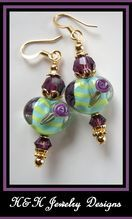 Hand made lampwork glass HEARTS Earrings at H&H Jewelry Designs