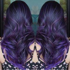 Breathtaking purple hair color design and hairstyle by Glamour Salon Las Vegas balayage ombré mermaid hair Hollywood Waves #hotonbeauty fb.com/hotbeautymagazine