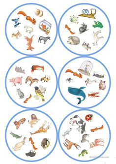 German lessons: Dobble - Animals cards / 8 symbols) - From my HoMe English Games, Kids English, English Activities, English Lessons, Woodland Party, Teaching English, Art Education, Teacher Resources, Animals Beautiful