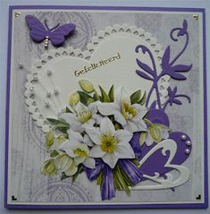 3d Cards, Paper Cards, Mothers Day Cards, Valentine Day Cards, Butterfly Cards, Flower Cards, Marianne Design Cards, Crafters Companion Cards, Purple Cards