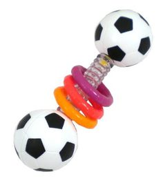 Sassy Mini Sports Rattle Developmental Toy: http://www.amazon.com/Sassy-Mini-Sports-Rattle-Developmental/dp/B002L3T9ZQ/?tag=headisstrandh-20