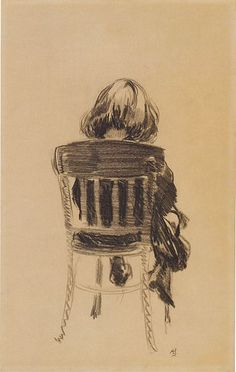 campsis:  Aksel Waldemar JohannessenRear View of Daughter Solveig Sitting on a Chair