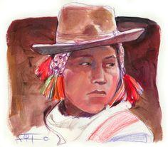 Joven Quechua, técnica mixta