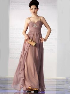A-Line/Princess Spaghetti Straps Beading Chiffon Floor-length Dress