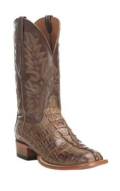 Mens Cognac Crocodile Design Leather Cowboy Boots Round Toe 8.5 E US Team West